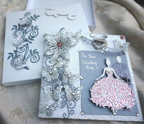 Wedding Day Card Hand Made Boxed Keepsake & Personalised Engraved Diamante Heart